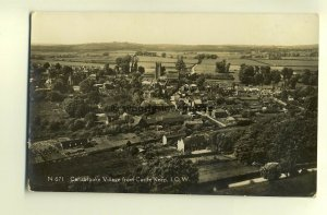 h0055 - Carisbrooke Village from Castle Keep , Isle of Wight - postcard