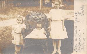 Real Photo Postcard~Ruth Mildred Velma Curtis~Darling Victorian Girls~1905 RPPC