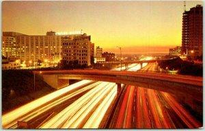 Los Angeles, California Postcard The Harbor Freeway at Dusk Highway 110 c1960s