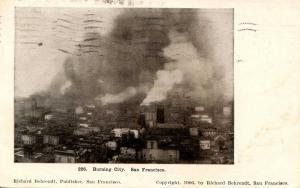 CA - San Francisco. April 1906 Earthquake & Fire. Bird's Eye View of Burning ...