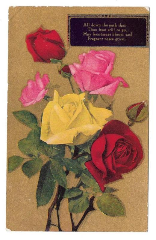 Motto Poem Flowers Multi Color Roses Gold Postcard