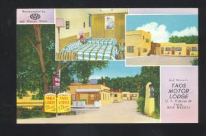 TAOS NEW MEXICO TAOS MOTOR LODGE INTERIOR LINEN ADVERTISING POSTCARD N.M.