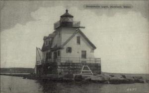 Rockland ME Breakwater Lighthouse Old Postcard