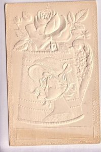 Rose and Woman's Head on Watering Can Embossed,  Vintage