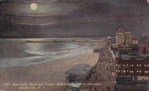 ATLANTIC CITY New Jersey PU-1910; Boardwalk, Beach & Young's Million Dollar Pier