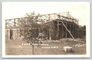 Milford Indiana~Camp Mack~Quinter Miller Auditorium Under Construction~1935 RPPC