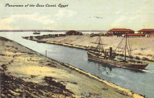 Panorama Of The Suez Canal, Boat, Egypt, Africa, 1900-1910s