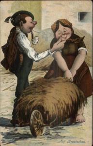 Otto Huber - Cute/Fuinny Looking German Couple Romance c1910 Postcard