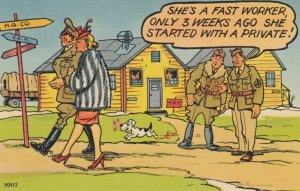 COMIC, 1930-40s; Blond walking with officer, Soldiers gossiping, Barracks, li...