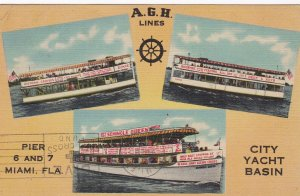 MIAMI , Florida , 30s-40s; 3-views, A.G.H. Lines, City Yacht Basin