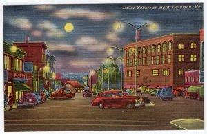 Lewiston, Me, Union Square at night