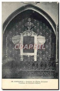 Old Postcard Grenoble Interior of St Andre 39eglise & # Tomb of the Knight Ba...