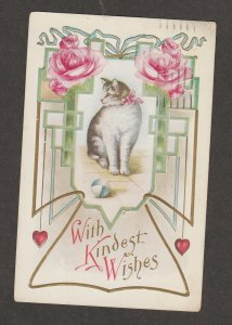With Kindest Wishes Cat Feline Antique Post Card Embossed