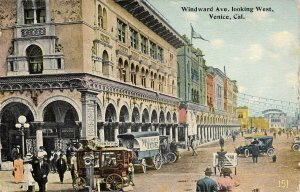 Windward Avenue looking West, Venice, CA Street Scene ca 1910s Vintage Postcard