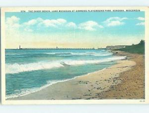W-Border BEACH SCENE Kenosha - Near Milwaukee & Racine Wisconsin WI G6244