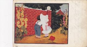 The Lovers, Boy kissing girl wearing white bonnet in the garden, PU-1909
