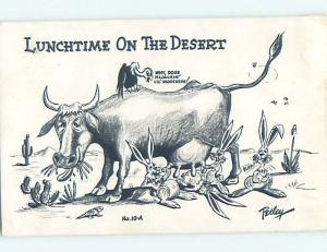 Pre-1980 comic signed BUNNY RABBITS DRINKING MILK STRAIGHT FROM THE COW HL3588