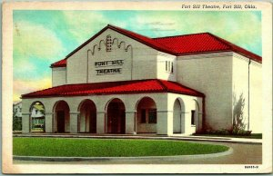 Lawton, Oklahoma Postcard FORT SILL THEATRE Building / Front View Linen 1942