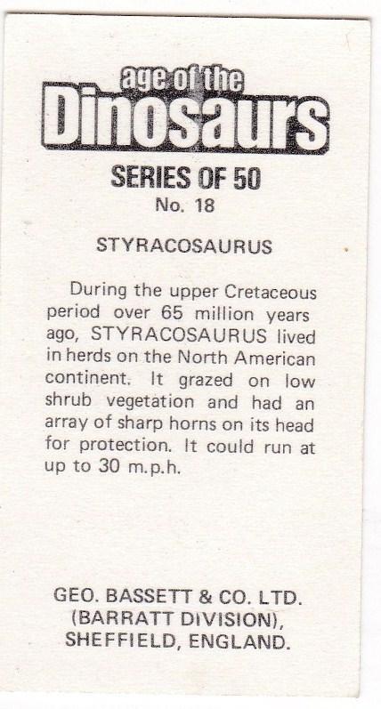 Trade Cards Geo. Bassett / Barratt AGE OF THE DINOSAURS No 18 Styracosaurus