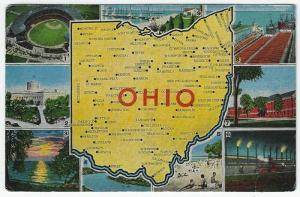 OHIO Large letter Linen Postcard With State Views, 1955