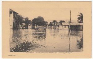 Benin; Dahomey, No 11,1925 Cotonou Floods, The Native Village PPC, By ER, Unused