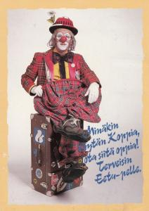 Finland Finnish Clown On Travelling Suitcase Postcard