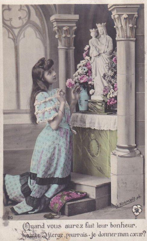 RP: Girl kneeled praying to Virgin Mary & Baby Jesus Statue in Church, PU-1907