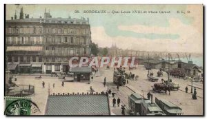 Old Postcard Bordeaux Quai Louis XVIII and Place Carnot (animated) Tramways