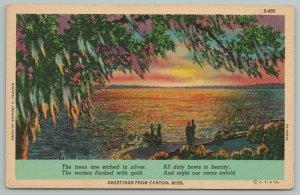Canton Mississippi~Sunset On Ocean Shoreline~People In Boat~Vintage Postcard