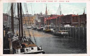 Market Slip, Low Tide, St. John, New Brunswick, Canada, Early Postcard, Used