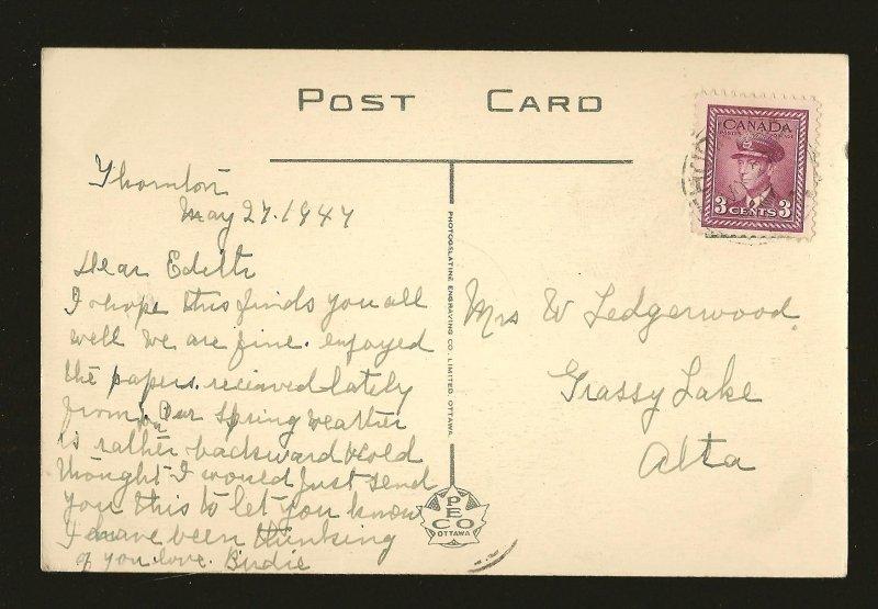 Postmarked 1947 Thornton Ont Innisful Park Beach Barrie Ontario Color Postcard
