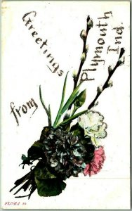 Vintage Greetings from PLYMOUTH Indiana Postcard Flowers / Glitter c1910s