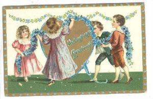 TUCK #11, Valentine Greetings, Children Decoration A Big Heart That Says- Va...