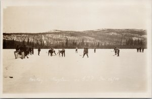 Hockey Game Hazelton BC Hazelton vs GJP Dec. 1910 Unused Real Photo Postcard E80