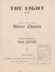 The Light Song Theme From BBC Show Silver Chords 1950s Sheet Music