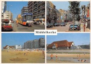 Belgium Middelkerke Cars Street Voitures Tram Cyclists, Plage Promenade Beach