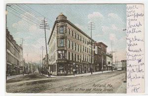 Free & Middle Streets Portland Maine 1907 postcard / HipPostcard