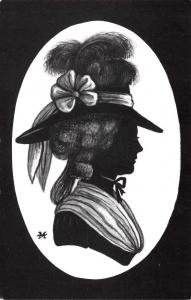 Postcard 1981 Silhouettes by Mark Haddon Lady C 1785 by Veldale 1st Reprint #M98
