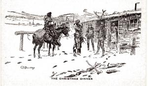 Charlie Russell, The Christmas Dinner undivided back, pre-1908