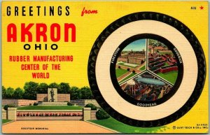 1940s AKRON, Ohio Linen Greetings Postcard Rubber Mfg. Center of the World