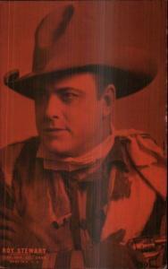 Cowboy Actor Mutoscope Exhibit Card ROY STEWART Red Tint