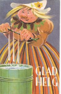 Christmas : GLAD HELG , 1920s : Artist Geepo ; Troll making candle