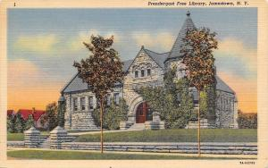 Jamestown New York~Prendergast Free Library~1937 Linen Postcard