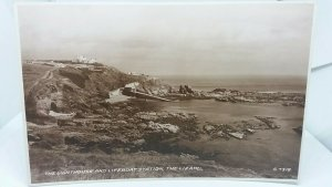 Vintage Rp Postcard The Lighthouse and Lifeboat Station The Lizard Cornwall Rppc