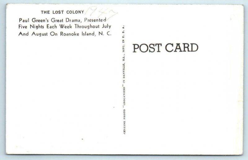RPPC  ROANOKE ISLAND, North Carolina NC ~ Theater THE LOST COLONY 1947  Postcard