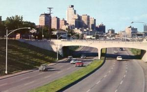 TX - Fort Worth. Skyline from East-West Freeway, 1950's
