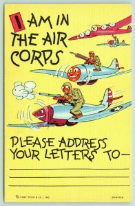 Army Air Corps~Comic Planes w/Personality~Busy Airman's Address~Linen~1942 WWII