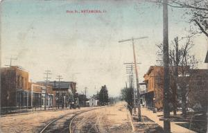 Metamora OH~Handcolored~Trolley Tracks Curve Thru Main St~Early Automobile 1910