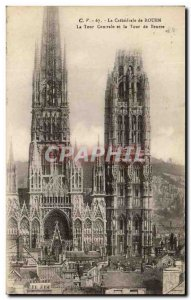 Old Postcard Rouen Cathedral's Central Tower and Tour de Beurre