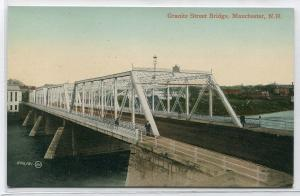 Granite Street Bridge Manchester New Hampshire 1910c postcard